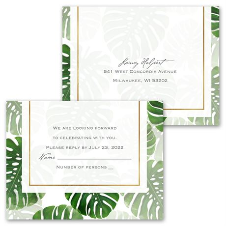 Pretty Palms - Invitation with Free Response Postcard
