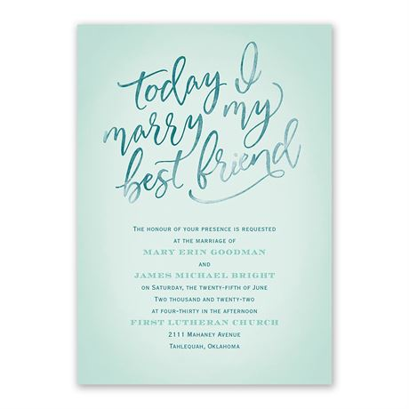 Today I Marry - Invitation with Free Response Postcard