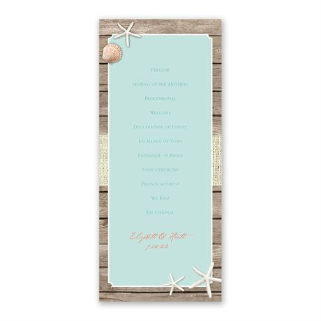 Beach Retreat - Wedding Program