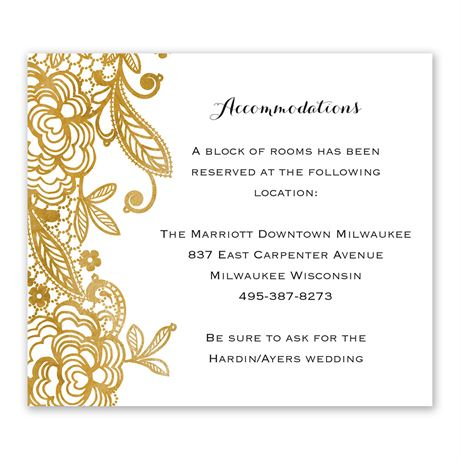 Gold Lace Information Card