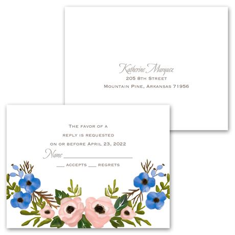 Blooming Beauty - Invitation with Free Response Postcard