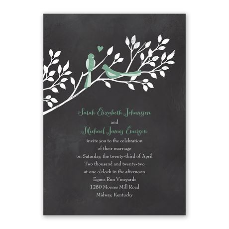 Chalkboard Lovebirds Invitation with Free Response Postcard
