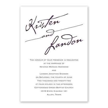 Elegant Script - Invitation with Free Response Postcard