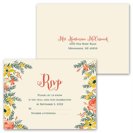 Watercolor Floral - Invitation with Free Response Postcard