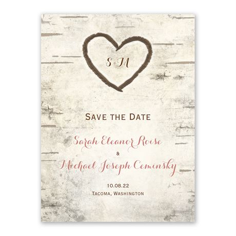 Birch Tree Carvings - Save The Date