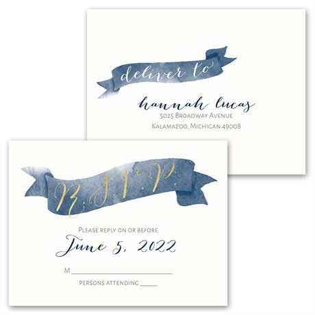 Watercolor Whimsy - Invitation with Free Response Postcard