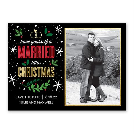 Married Little Christmas - Holiday Card Save the Date