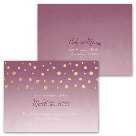 Gold Dust - Faux Glitter - Invitation with Free Response Postcard