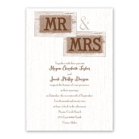 Country Couple Invitation with Free Response Postcard
