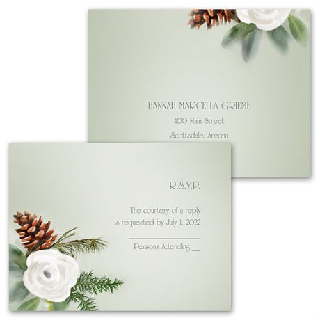 Winter Floral - Invitation with Free Response Postcard