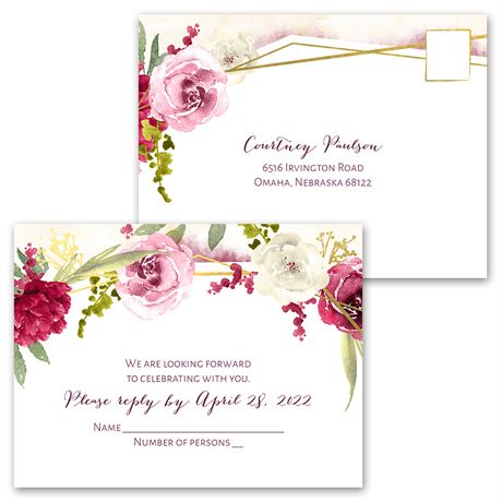 Geo Rose - Invitation with Free Response Postcard
