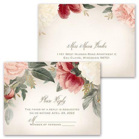 Blush Floral - Invitation with Free Response Postcard