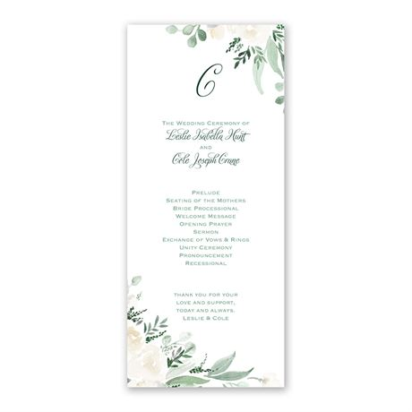 Painted Garden - Wedding Program