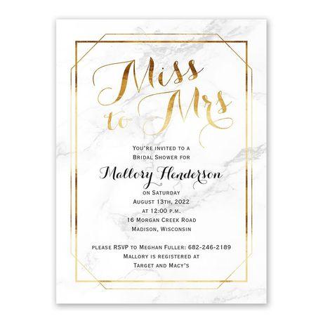 Marble Frame - Bridal Shower Invitation