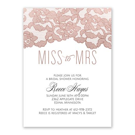 Rose Gold Lace Bridal Shower Invitation