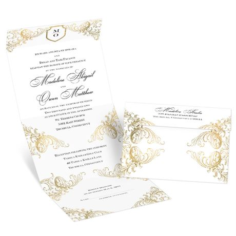 Gold Flourish Seal and Send Invitation