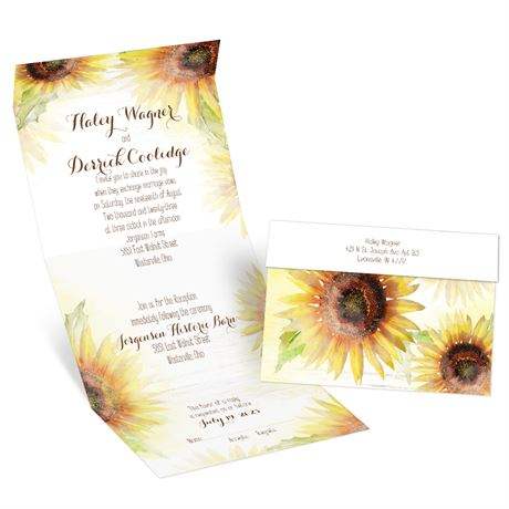Painted Sunflowers Seal and Send Invitation