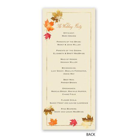 Falling Leaves - Wedding Program
