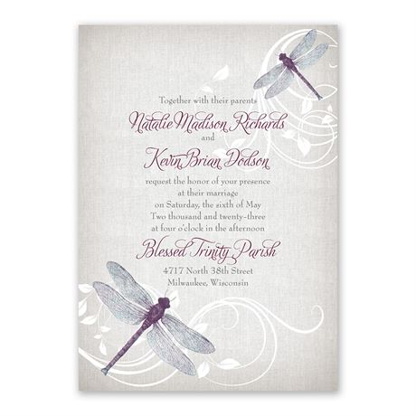 Dragonfly Pair - Invitation with Free Response Postcard