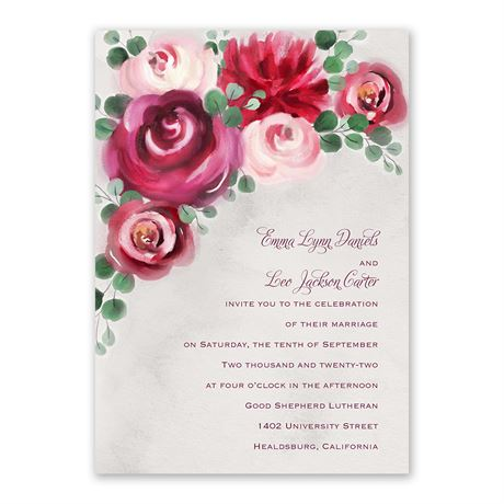 Burgundy Botanic Invitation with Free Response Postcard