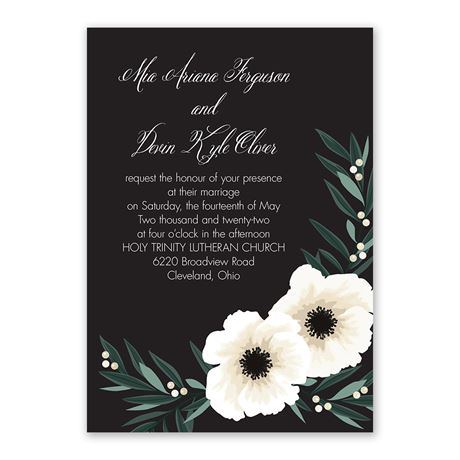 Anemone Blossom - Invitation with Free Response Postcard