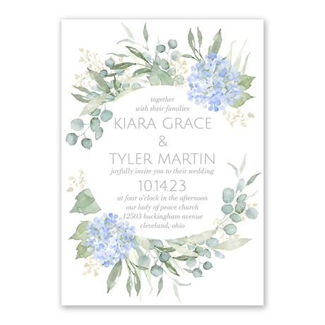 Blue Hydrangea Invitation with Free Response Postcard