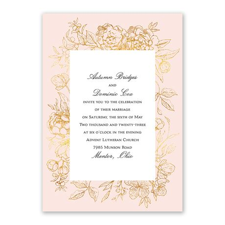 Gilded Garden Invitation with Free Response Postcard