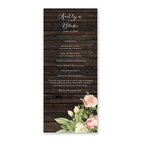 Rustic Floral - Wedding Program