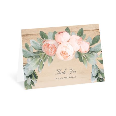 Peach Peony Thank You Card