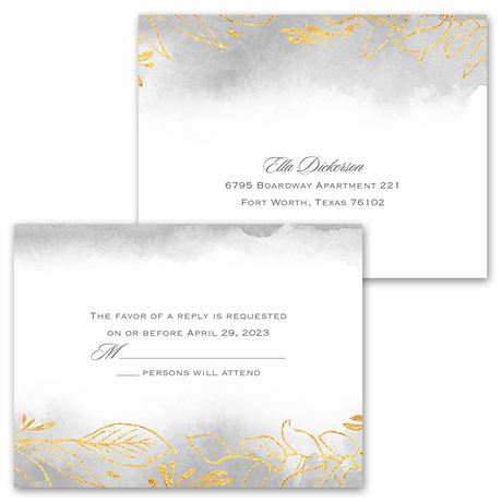 Golden Ring  - Invitation with Free Response Postcard