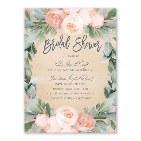 Peach Peony Bridal Shower Invitation
