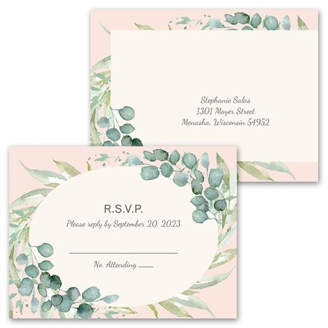 Framed in Greenery - Invitation with Free Response Postcard