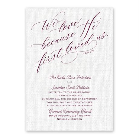 We Love Because - Invitation with Free Response Postcard