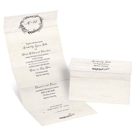 Rustic Wreath - Seal and Send Invitation