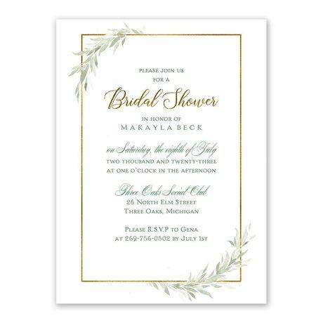 Greens and Gold Bridal Shower Invitation