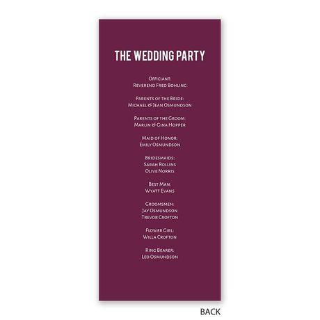 Photo Simplicity - Wedding Program