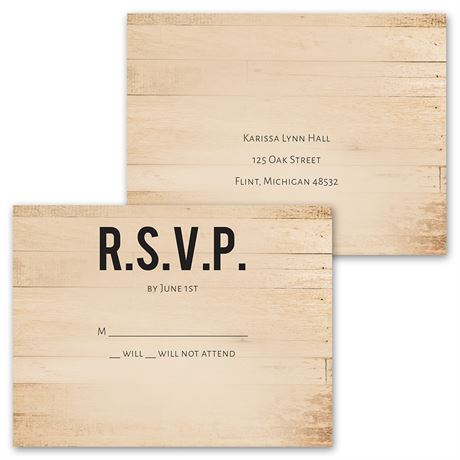 Modern Woodgrain - Invitation with Free Response Postcard