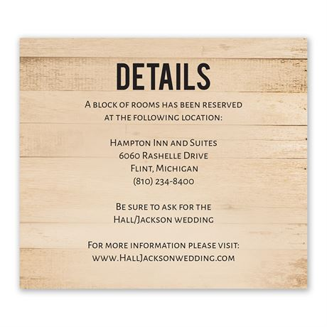Modern Woodgrain Information Card