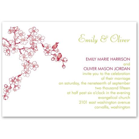 Birds in Cherry Blossoms  Petite Invitation