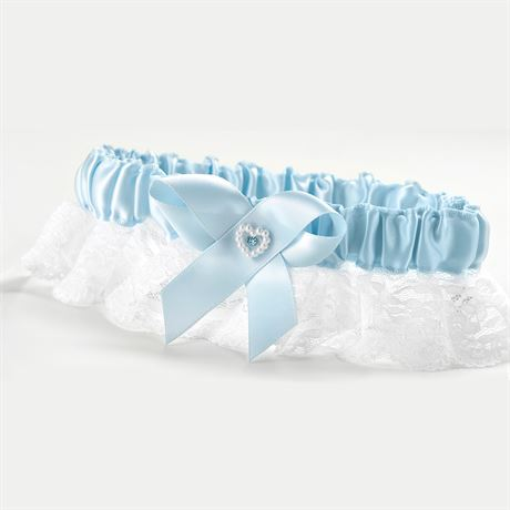 Heart and Rhinestone Garter  Blue  Full Figure Garter