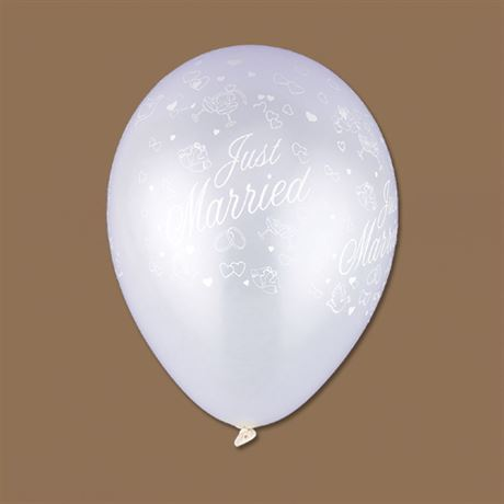 Just Married White Pearl Balloon