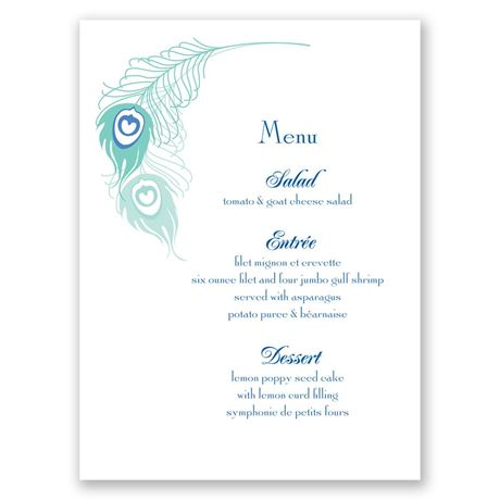 Feather Fancy  Menu Card