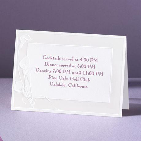 Satin Calla Lilies  Reception Card