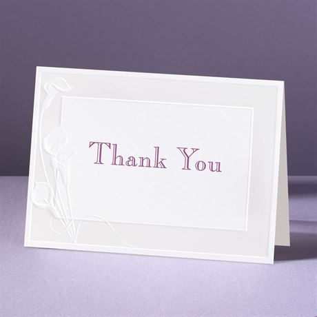 Satin Calla Lilies  Thank You Card and Envelope