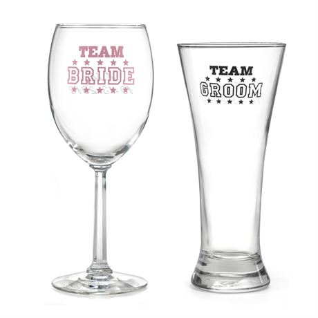 Team Bride and Team Groom Wedding Glasses