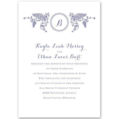 Vineyard Monogram  Invitation