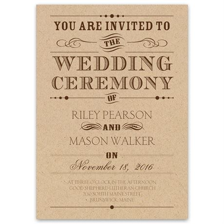 Typography on Kraft  Invitation