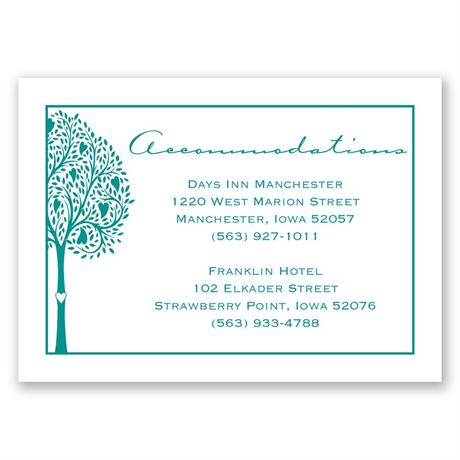 Tree Love  Accommodations Card