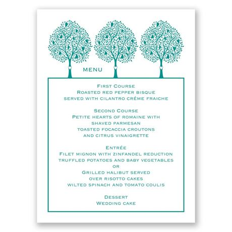 Tree Love  Menu Card