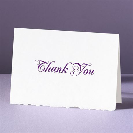 White Deckle Edge  Thank You Card and Envelope